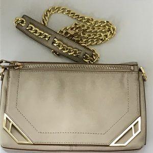 BOTKIER cream leather clutch/crossbody/shoulderbag